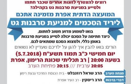 Prenuptial Agreement for the Prevention of Get-Refusal Fair in Efrat!